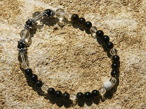 Armband, Bracelet: Bergkristall Goldobsidian Silber 925