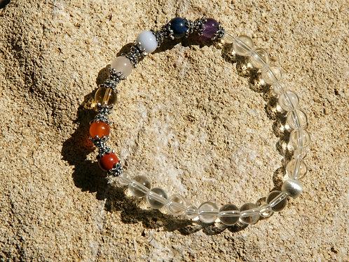 Armband, Bracelet: Bergkristall Amethyst Dumortierit Chalzedon RosenquSilber 925
