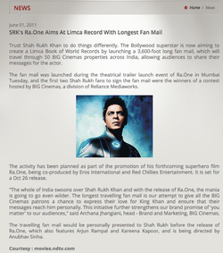 SRK's 'Ra.One' aims at Limca record