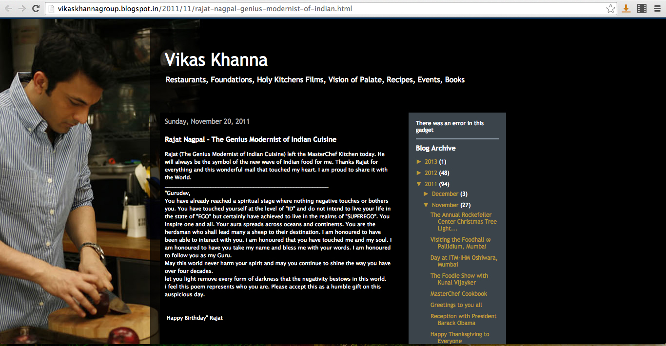 CHEF VIKAS KHANNA'S REVIEW