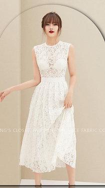 T11- Váy ren trắng sat nách