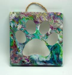 Fluid Art Wood Paw Print