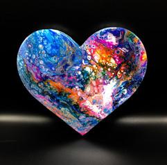 Fluid Art Wood Heart