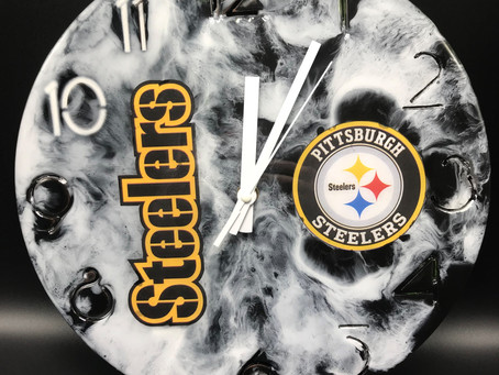 Created this Steelers Wall Clock for my husband's Man Cave.  Black & White Resin.