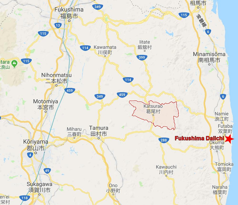 Situation de Katsurao par rapport à la centrale accidentée de Fukushima Daiichi
