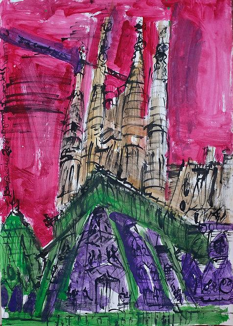 Sagrada Familia Acuarela #4