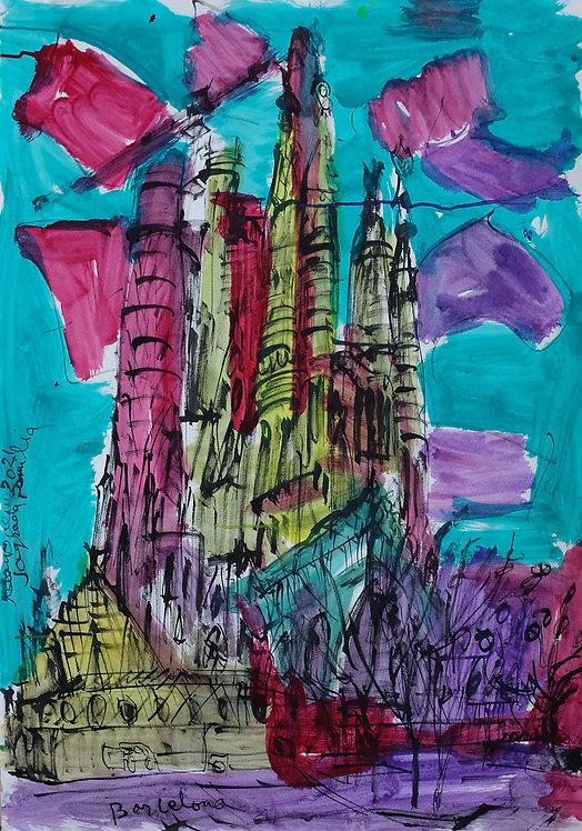 Sagrada Familia Acuarela #1