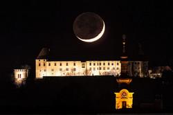 Monduntergang hinter Schloss Seggau