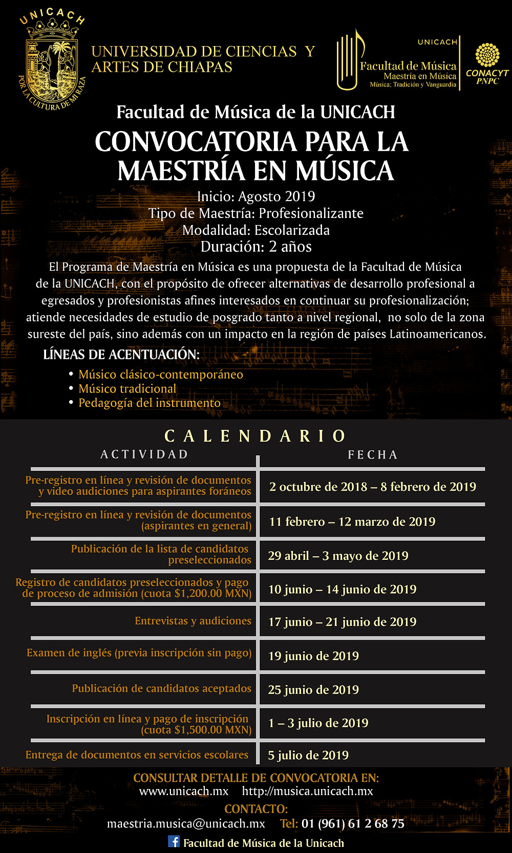 Calendario de Actividades para ingreso a la Maestría en Música 2019