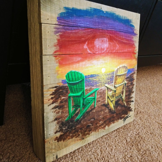 Acrylic paint on wood price: $60