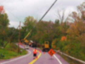 Emergency tree work in road