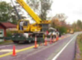 Emergency tree work in road