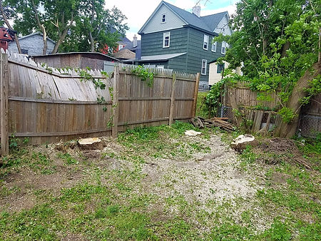 storm damage cleanup around fence