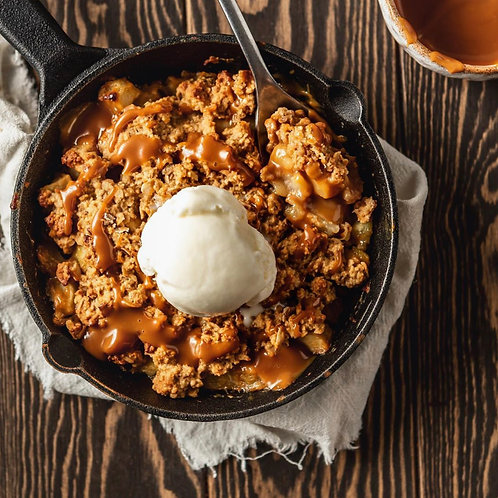 Family crumble of the week with creme anglais