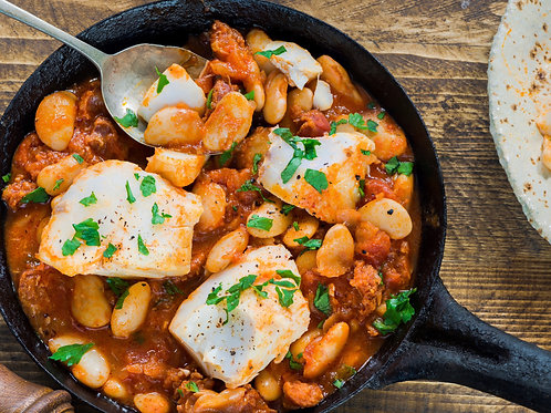 Cod Loin with Chorizo, Spinach & White Bean Stew for 2