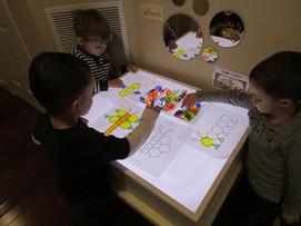 Pattern blocks on the light table