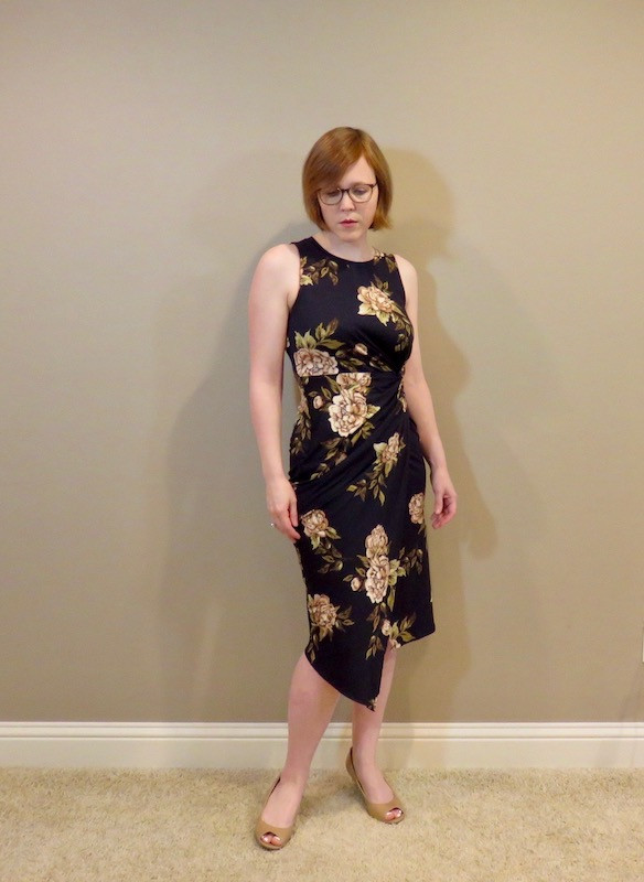 Navy dress with beige flowers