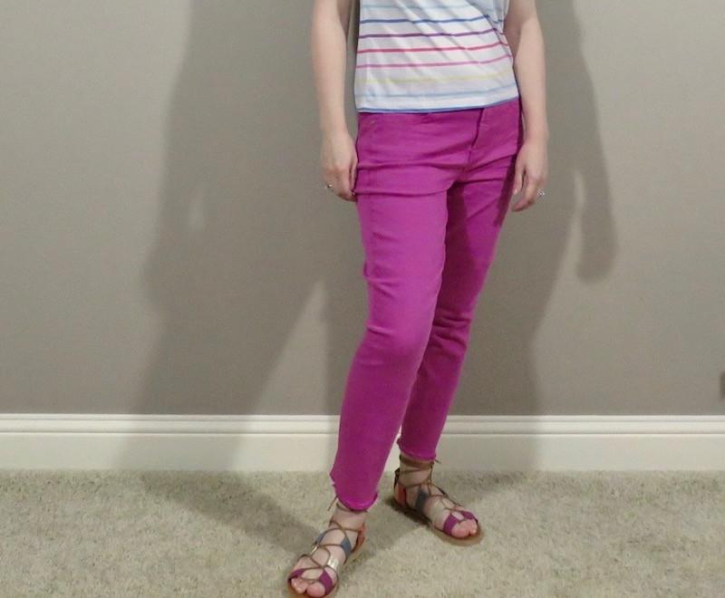 bright pink denim pants
