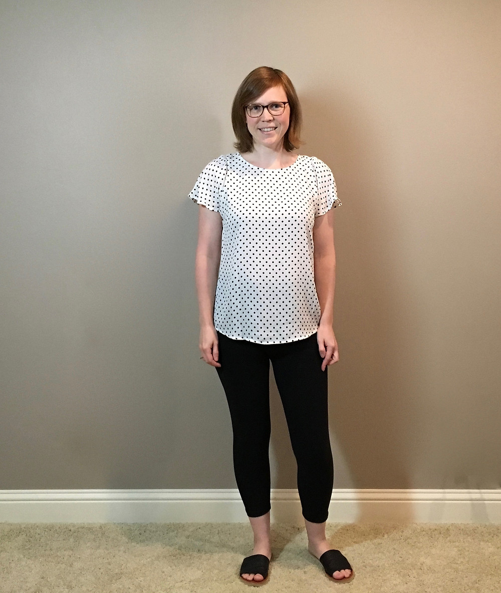 black leggings with white and black polka dot short sleeve top