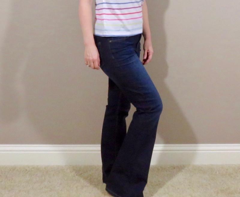 dark denim boot-cut jeans