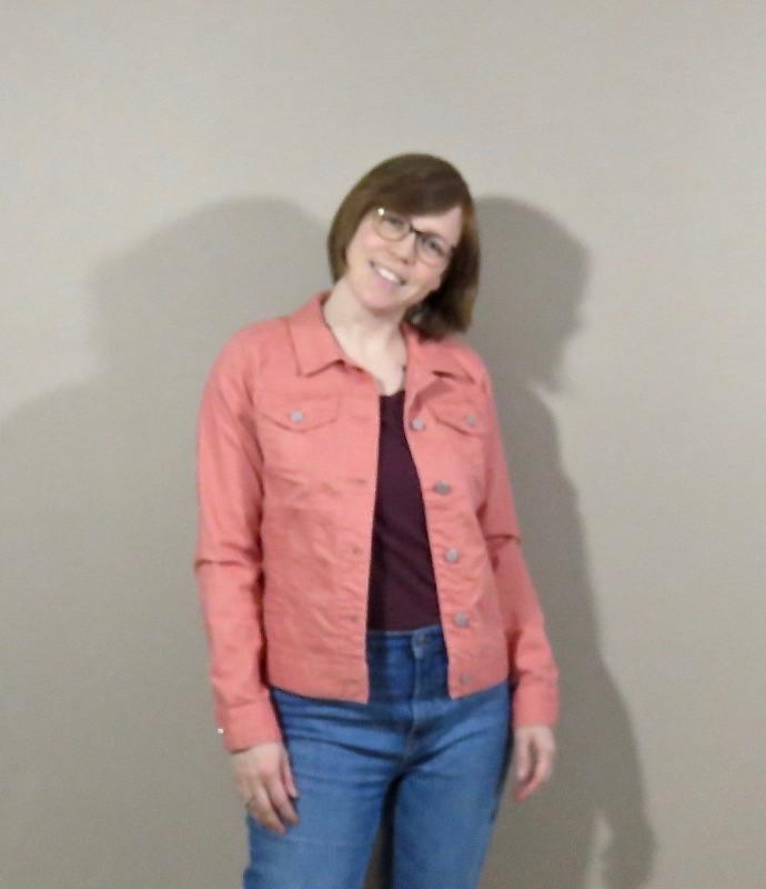 melon pink denim jacket