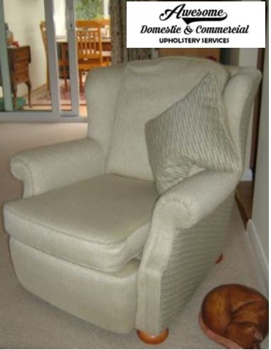 Reupholstered arm chair in two fabrics