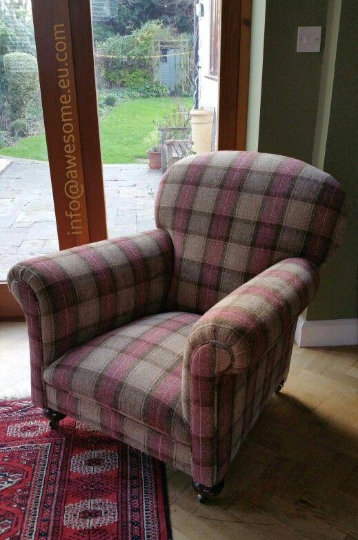 Reupholstered tartan arm chair
