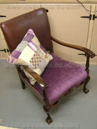 Reupholstered chair using fabric remnants