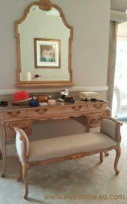 Reupholstered makeup bench