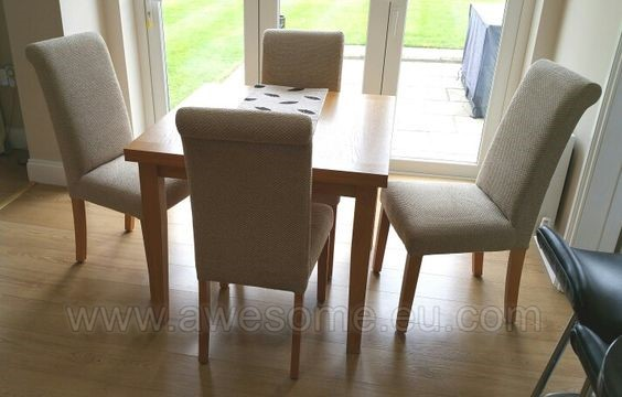 Reupholstered set of dining room chairs