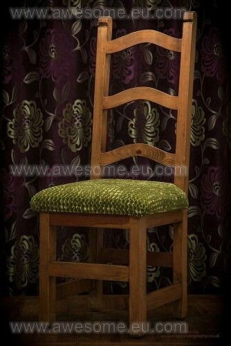 Reupholstered wooden backed dining room chair