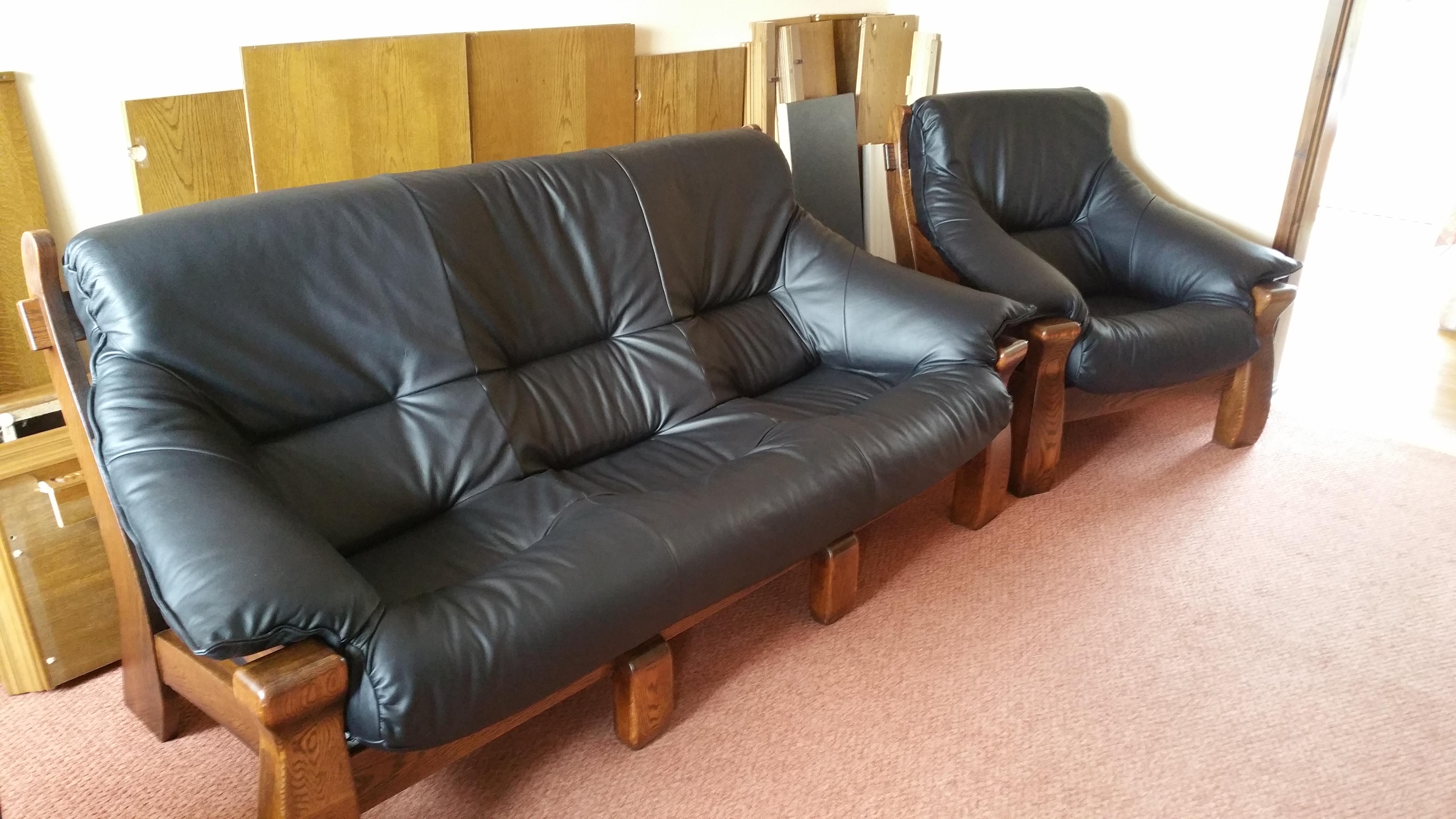 Leather three piece suite