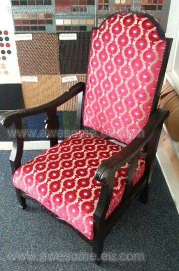 Reupholstered wooden framed arm chair