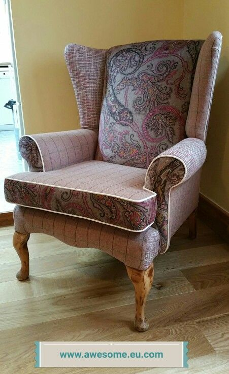 Reupholstered patch work wing am chair