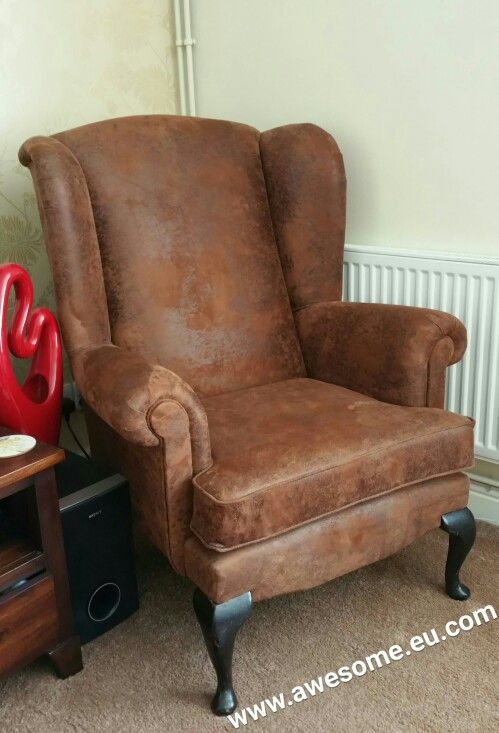 Reupholstered arm chair in chocolate suede fabric