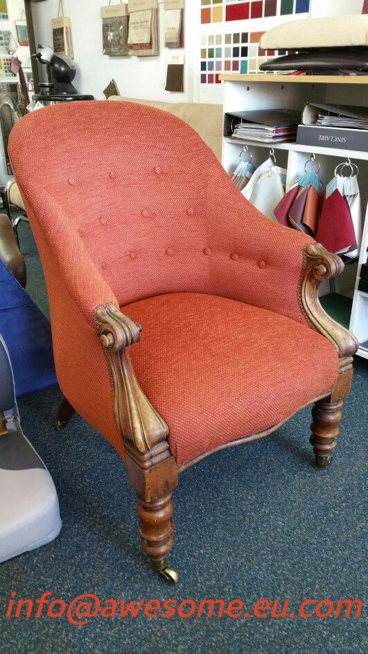 Reupholstered button backed small arm chair