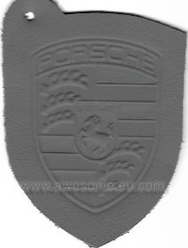 Porsche embossed grey leather logo