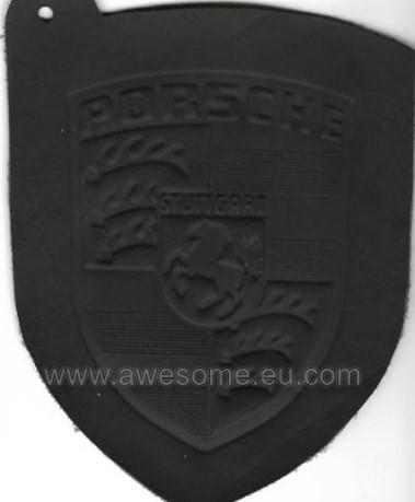 Porsche embossed black leather logo