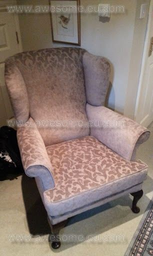 Reupholstered wing arm chair in suede fabric