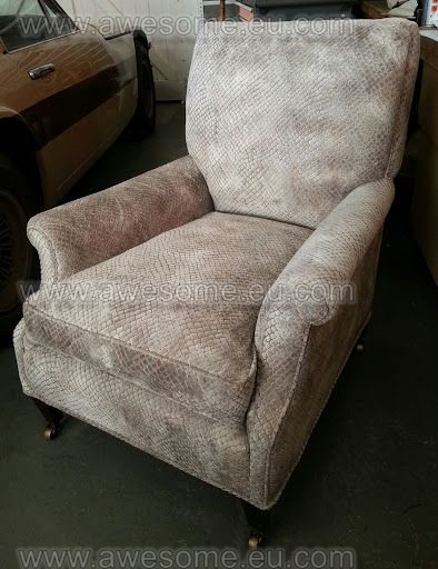 Reupholstered Faux suede arm chair