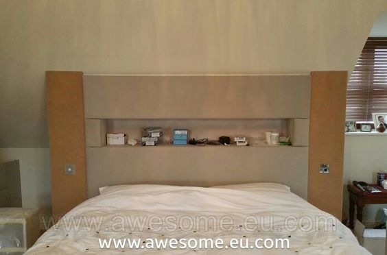 Custom made and upholstered headboard