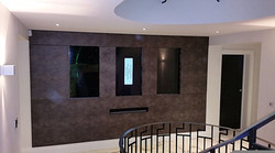 Faux suede TV feature wall