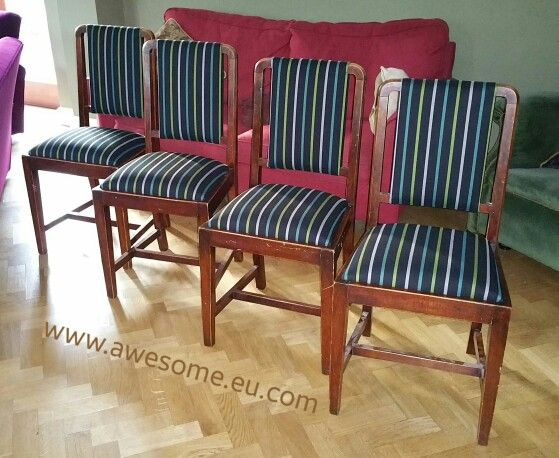 Reupholstered dining room chairs in striped fabric