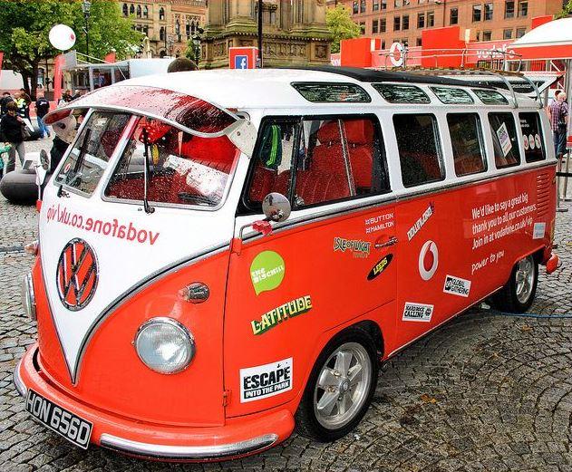 Resprayed Vodafone VW promo bus