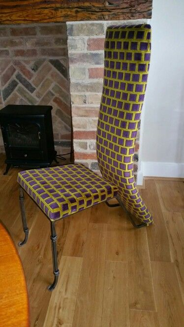 Reupholstered modern dining room chair