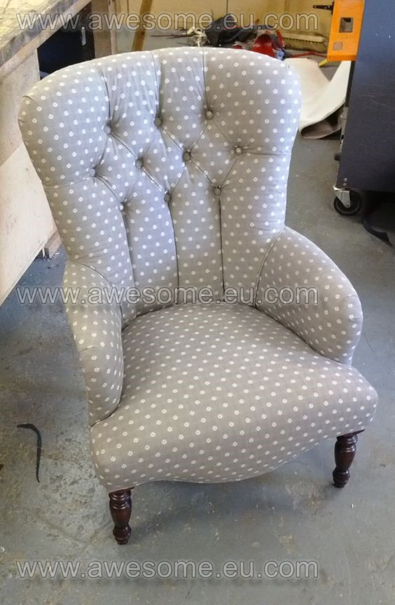 Reupholstered button backed bedroom chair
