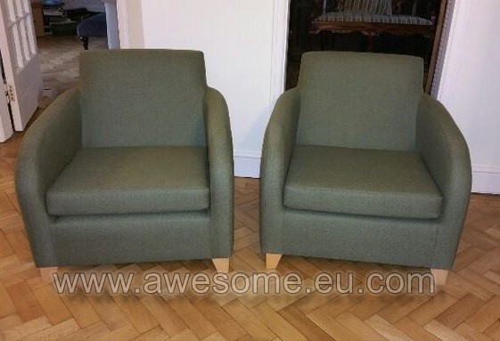 Reupholstered chairs in green