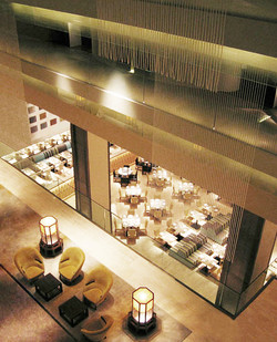 Lobby and restaurant below