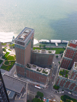 Aerial view toward the Hudson River