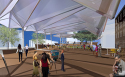 Plaza view with folding roof